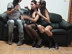 Three phat czech brunettes fuck for cash